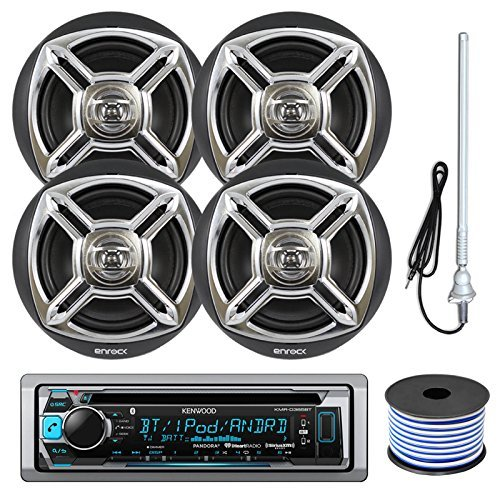 """Kenwood KMR-D365BT Marine Boat Outdoor Bluetooth CD MP3 USB/AUX iPod iPhone Stereo Receiver 4X 6.5"""" Inch Dual Cone Enrock Marine Waterproof Speakers 50 Ft Marine Speaker Wire + Antenna (Black/Chrome)"""