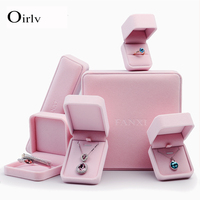 Oirlv wholesale boxes for pendant bracelet jewellery packaging box ring holder custom logo Pink velvet packing jewelry gift box