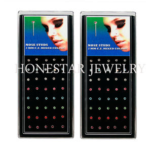 Manufacturing Body Piercing Jewelry CZ's Studde Main Stone 40pcs Case Designer Nose Rings Studs
