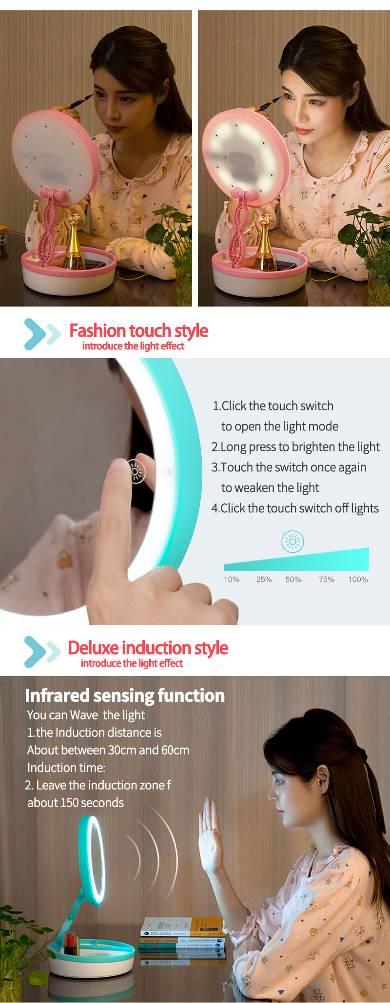 2018 Newest Fasion Cute Mirror makeup mirror with led lights
