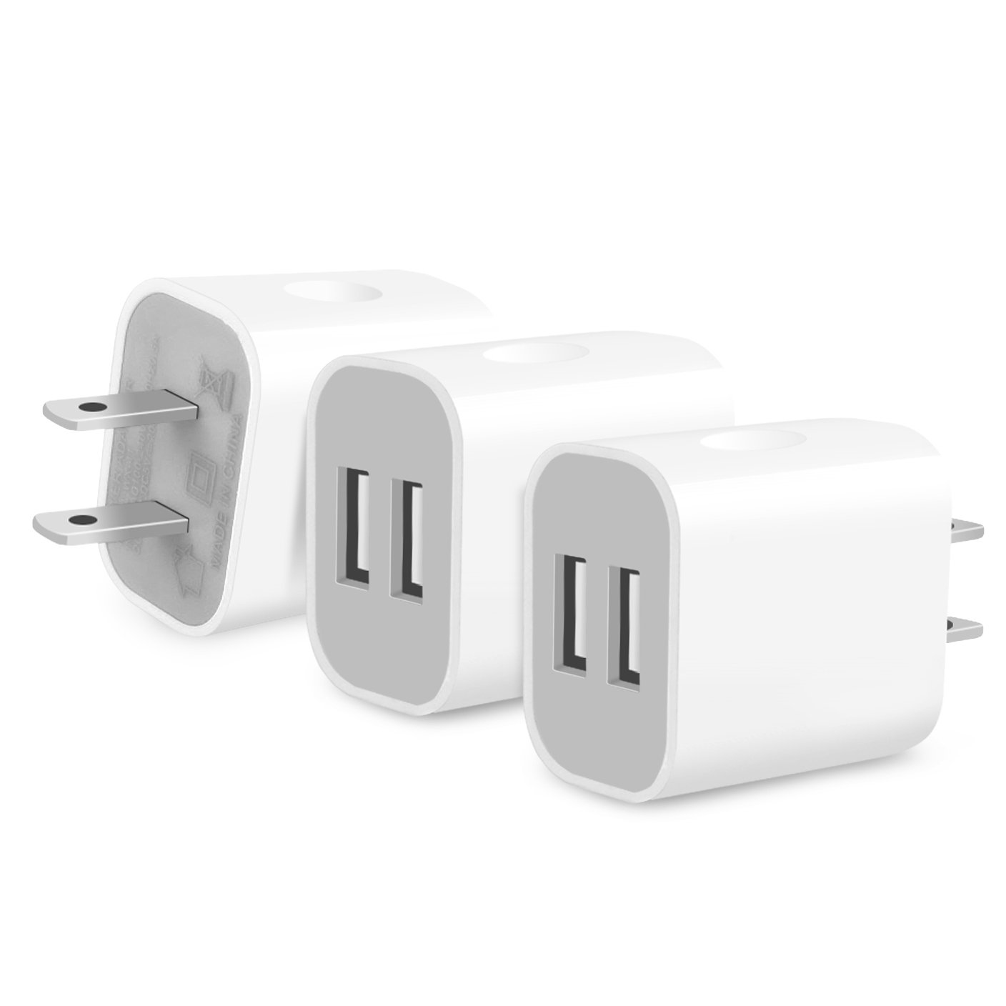 Frerush 3 Pack 2A 5V Universal Color Dual USB Port AC/DC Wall Travel Home Charger Power Adapter Plug for HTC, LG, Galaxy S Series, Note Series,Android Phone, iPhone 7 6s 6 Plus, iPad Air, Mini