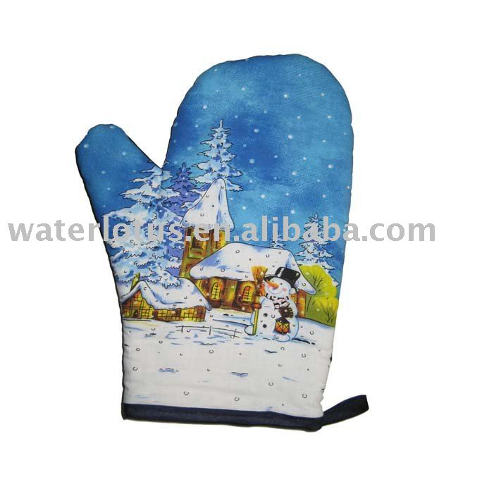 Christmas design oven mitt wholesale