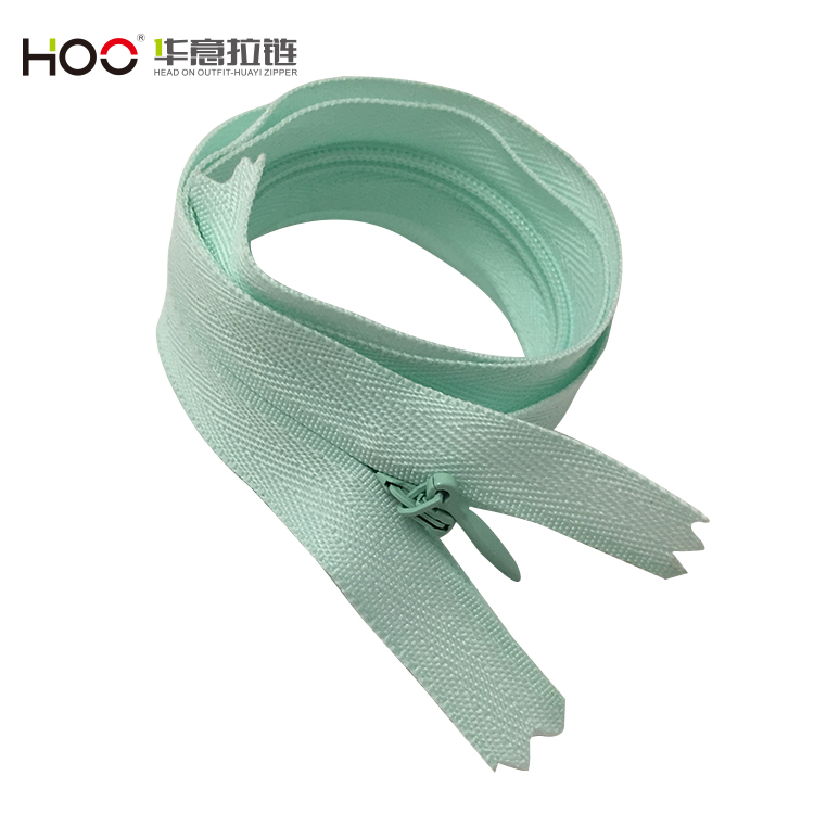 High end custom length green invisible nylon zipper
