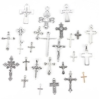 Wholesale Mixed Silver Color Cross Charm Alloy Pendant DIY Necklace&Bracelet Jewelry