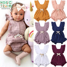 2019 Hot <span class=keywords><strong>Baby</strong></span> Meisjes <span class=keywords><strong>Kleding</strong></span> Ruche Romper <span class=keywords><strong>Zomer</strong></span> Mouwloze 100% Katoen Jumpsuit Sunsuit <span class=keywords><strong>Baby</strong></span> <span class=keywords><strong>Kleding</strong></span> 7 kleuren