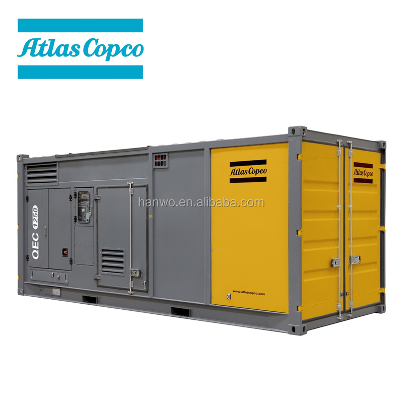 Atlas Copco QEC containerized power diesel electric generator 50/60Hz 400/480V 800-1250kVA Kubota engine Leroy Somer alternator