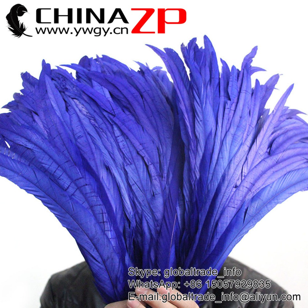 Leading Supplier CHINAZP Wholesale Colored Royal Blue Chicken Fully Dyed Roosters Feathers for Show