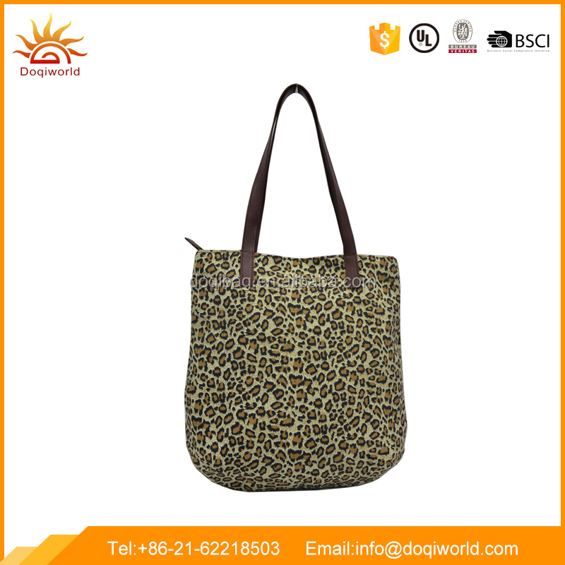 leopard print canvas material tote bag with leather handle