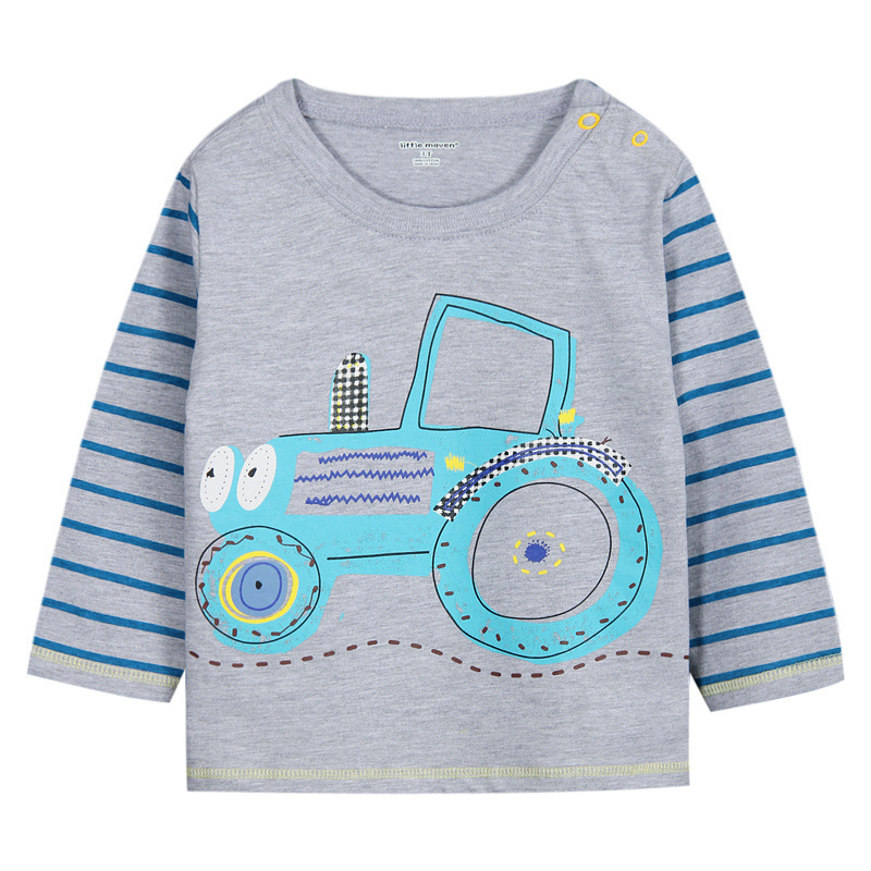 Hot sales 2015 long sleeve 100% cotton t shirts for 2-6T kids wear wholesale cartoon children t shirts (Ulik-T12)