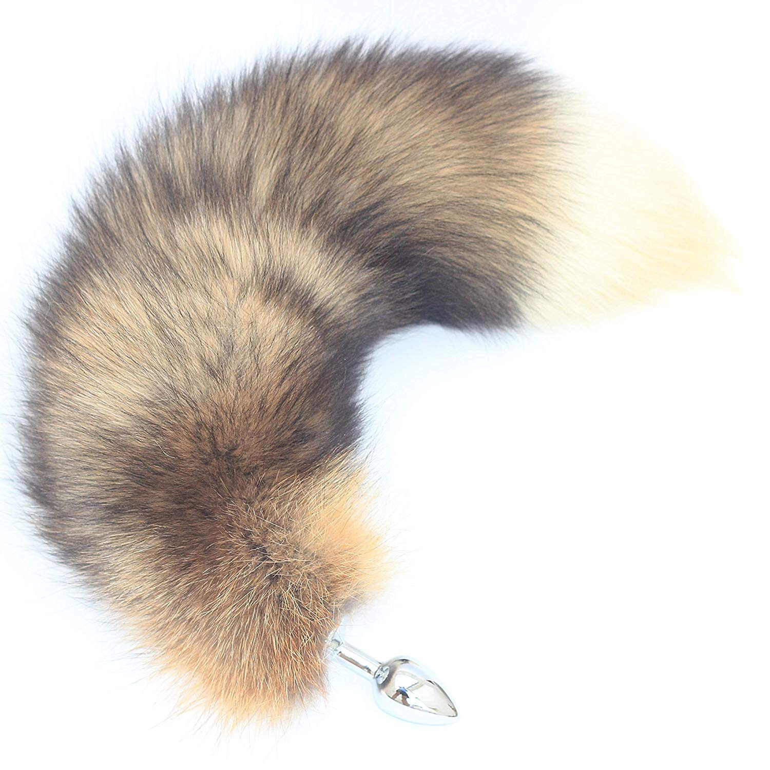 0c3cee241 Get Quotations · Real Red Fire Fox Tail Fur Anal Plug Sexy Fashion Butt  Stainless Steel Natural Color(