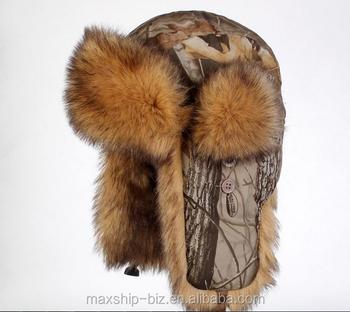 Brillante y tela de camuflaje de invierno de punto gorro ushanka sombrero  ruso de piel estilo d600715ea99