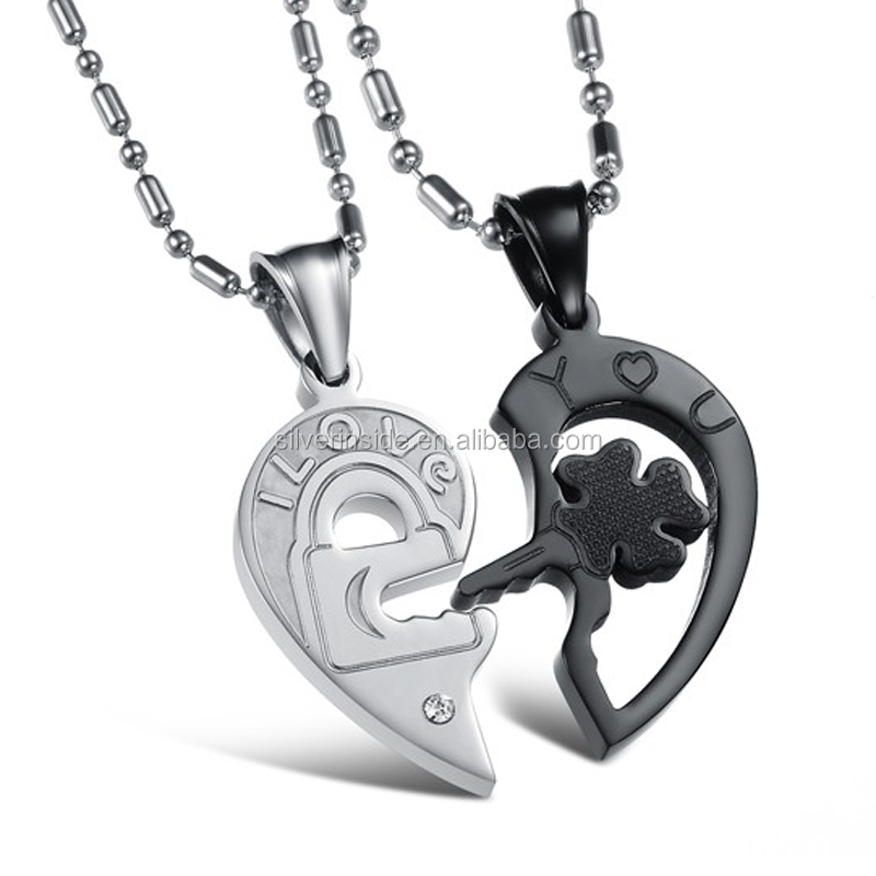 Classic 316L Stainless Steel I Love You Broken Heart Pendant Necklace CZ Diamond Lovers Couple Necklace Jewelry