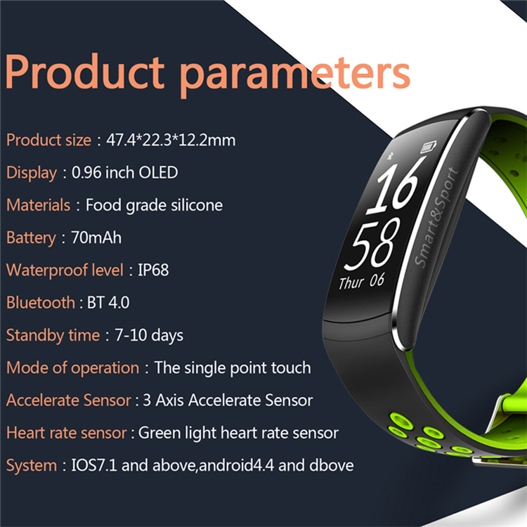 Q8 Waterproof IP68 Swim Smart bracelet Movement Track Curved Screen Wristband