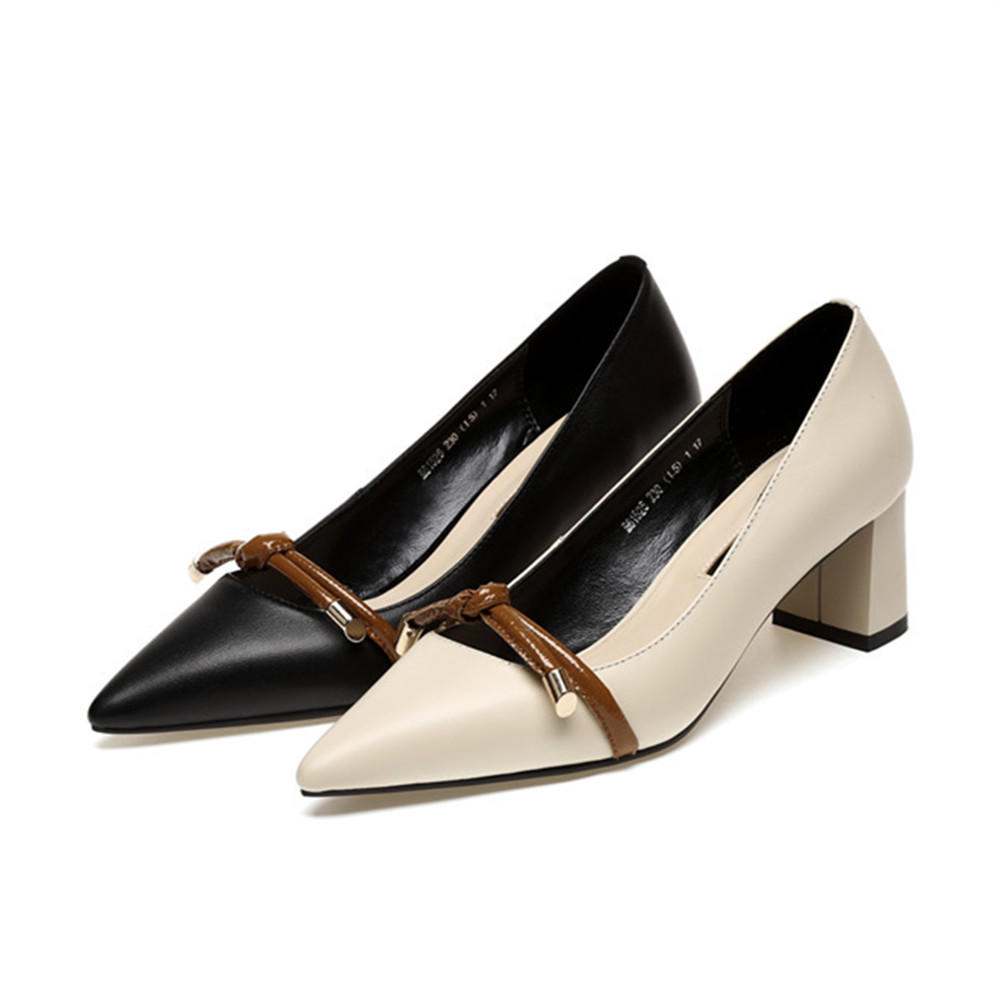 heels thick shoes heels genuine high leather Asumer women shoes toe shallow pointed qA4RnRtv
