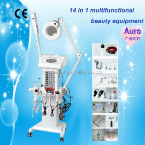 AU-2008 salon use 14 in 1 Multifunctional High-frequency facial machine with Magnifying Lamp
