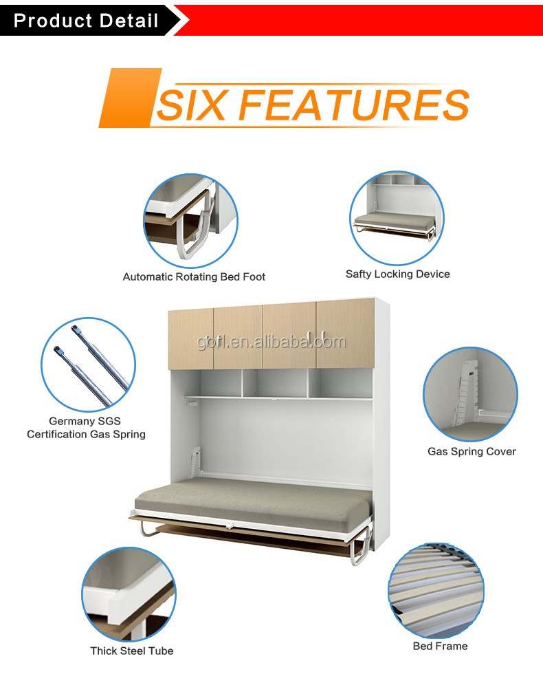 Gorl 2016 new wall bed accessories wall bed parts horizontal gorl 2016 new wall bed accessories wall bed parts horizontal folding bunk wall bed cf126szm amipublicfo Image collections