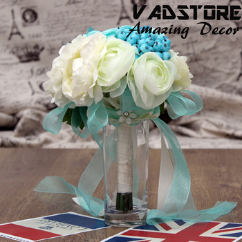 Blue Cream Blossom Rose Flower Bouquet Rustic Wedding Flower Bouquet