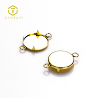 Gold Plated Round Claw Pendant Trays 12MM Cabochon Base Setting