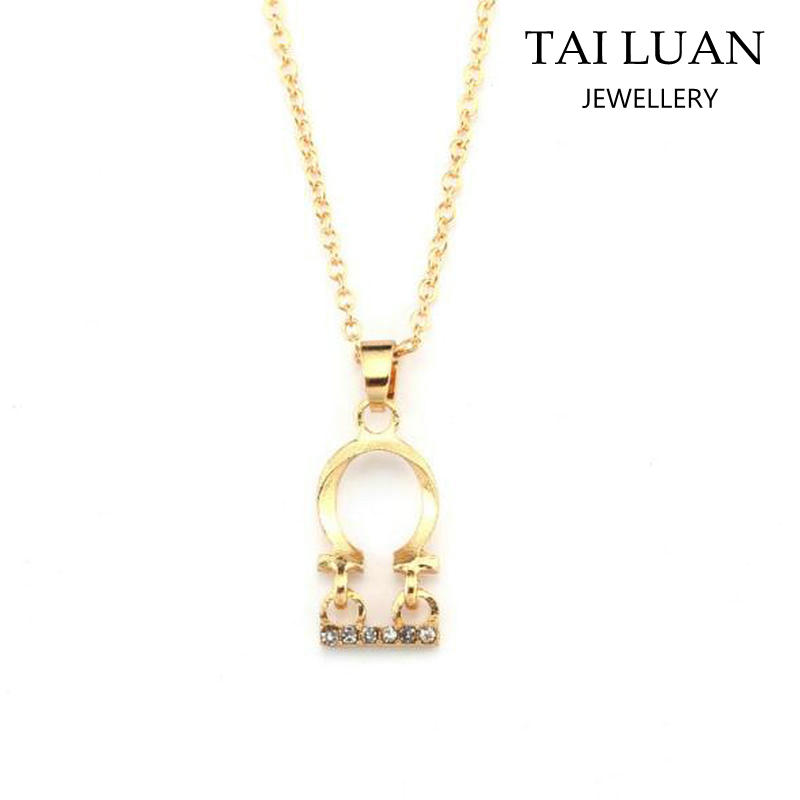 Wholesale Zodiac Sign Libra Charm Simple Chain Gold Necklace Jewelry