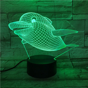 Dolphin 3D Illusion Lamp New Bedside Night Light Children 3D Night Lamp