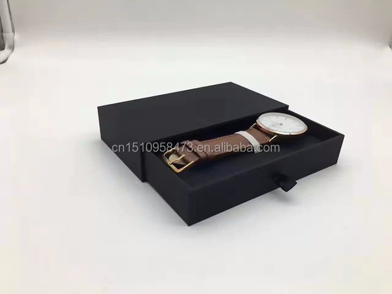 Hard cardboard paper box for watch cheap black watch gift box
