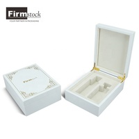 Luxury perfume wooden packaging box in white piano lacquer handmade gift box for two perfume bottle
