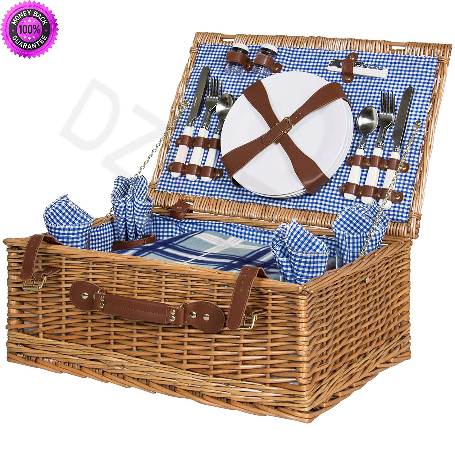 DzVeX 4 Person Wicker Picnic Basket W/Cutlery, Plates, Glasses, Tableware & Blanket And picnic basket set best picnic backpack best picnic basket picnic basket bed bath and beyond cheap picnic