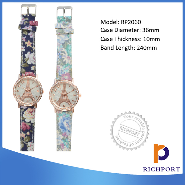 Eiffel Tower watch /Discount Vogue China supplier PU Leather Bracelet Watch