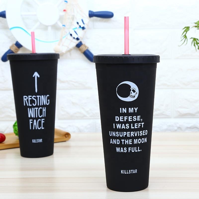 16oz.Custom Reusable double wall Matt black acrylic plastic coffee water tumbler with straw for drinking