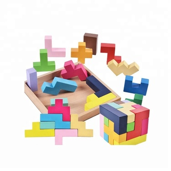 3D Katamino Wooden Tetris Puzzle Toys,Brain Teaser Toy Block Puzzle,Custom Magic Puzzle Cube