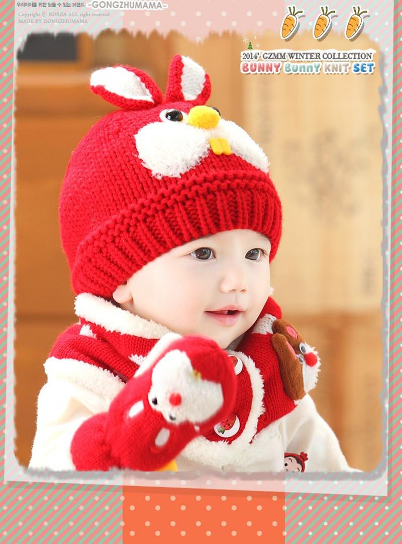 2 pièce ensemble chapeau et écharpe ensemble bébé chapeau d hiver lapin  tricot beanie 836fbe21d7b