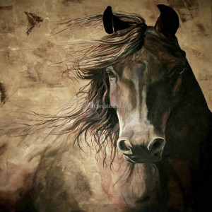 Original Design Abstract Living Room Decor Hand Painted Brown Horse Pictures On Canvas