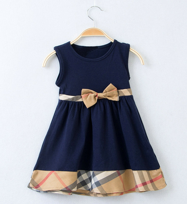 wholesale 5pcs/lot gril's clothes sleeveless bow dress baby clothes summer kids clothes brand gril dress