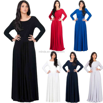 d854bc2c4e1 muslim long sleeve maxi dress Womens Flowy Empire Waist Fall Winter Party  Gown White long maxi