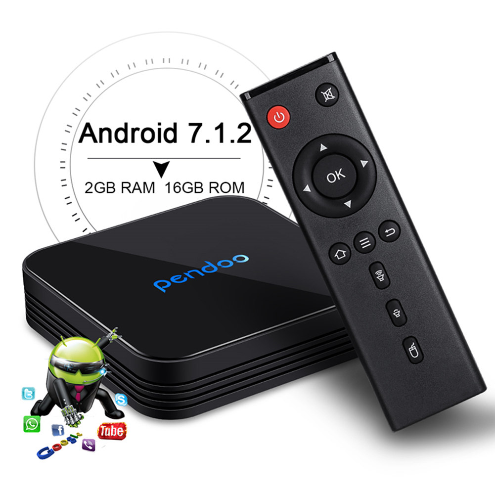 Best quality promotional Pendoo X10 S905W 2G 16G tv box android analog tv box with &ISO Android 7.1 OS media player set top