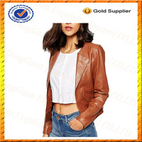 Custom 100% Leather Collarless Jacket Women/Cheap Leather Jackets for Womens