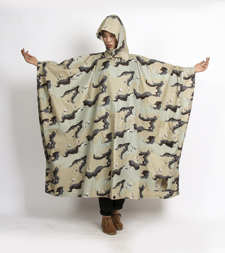 Outdoor Waterproof Riding Clothes PVC Raincoat long poncho camouflage military