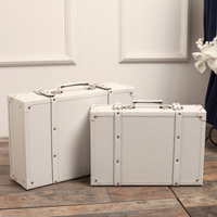 White Leather Retro travel suitcase Leather trunk & boot