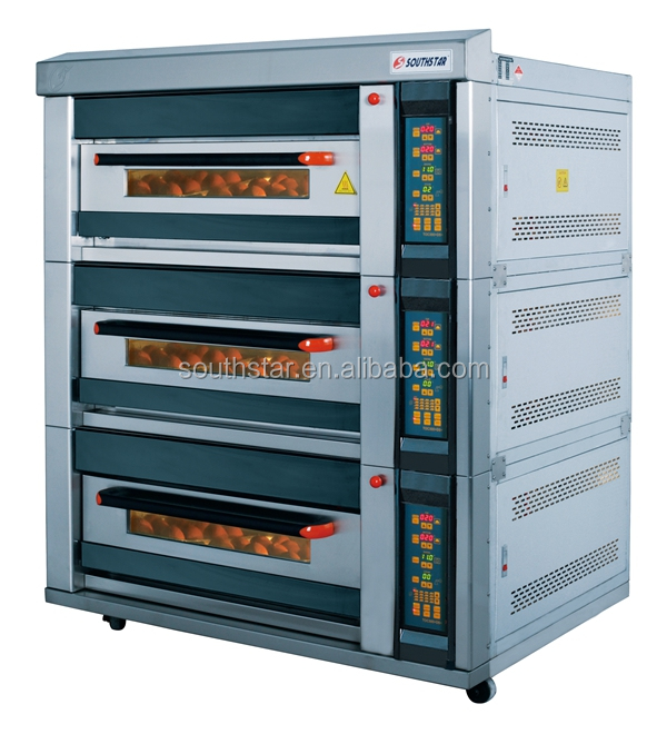 2016 commercial 3 layer 6 trays bread gas oven steam stone deck oven