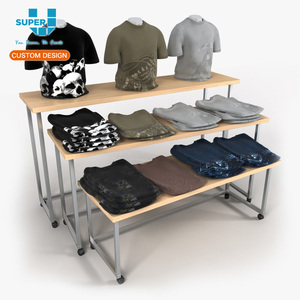 Profession Wooden T Shirt Floor Display Stands Clothing Store Display Racks T Shirt Retail Stand