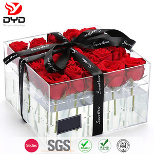 Big Sale Good sale clear transparent Valentine's Day plexiglass acrylic rose box