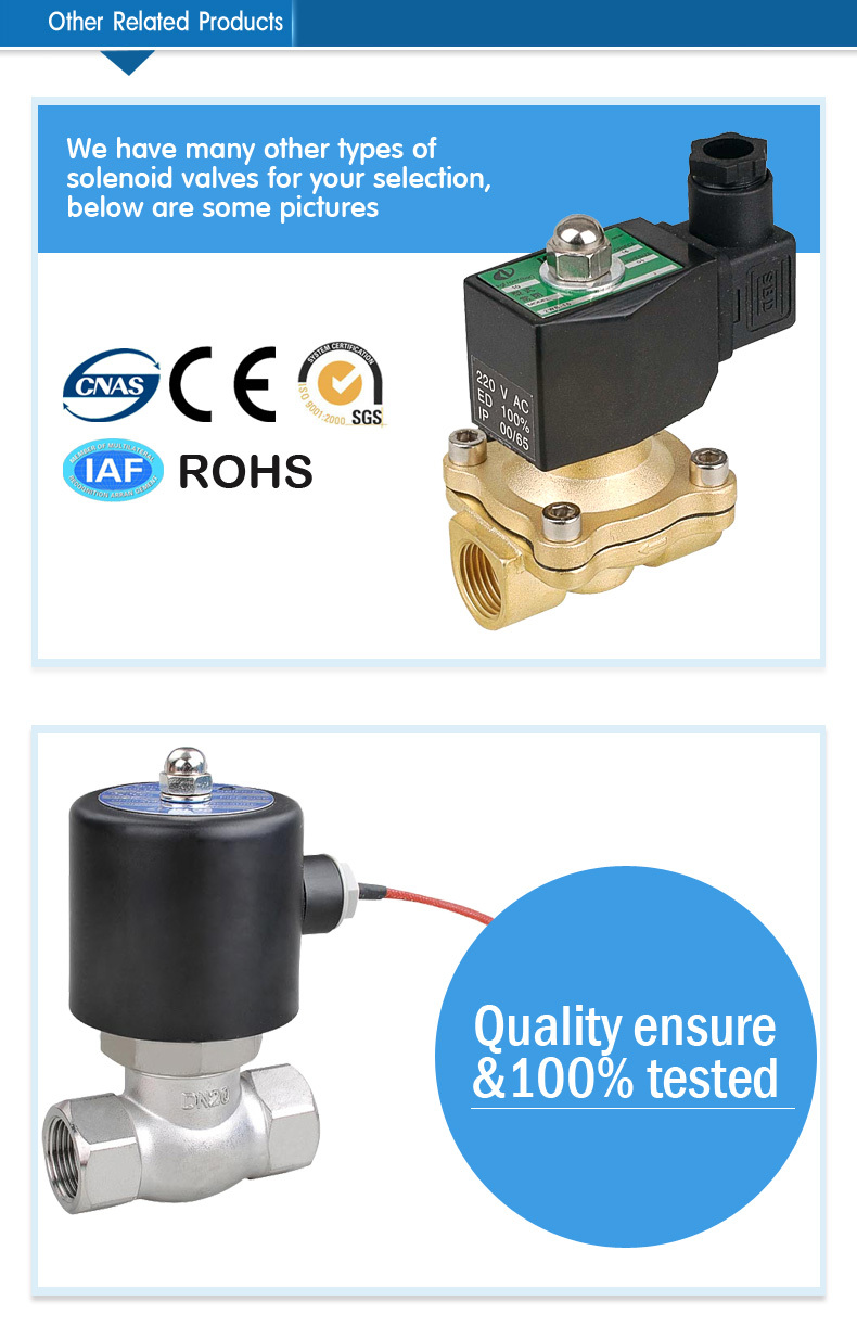 2/2 way direct acting brass material one-way solenoid valve for water AB41-02