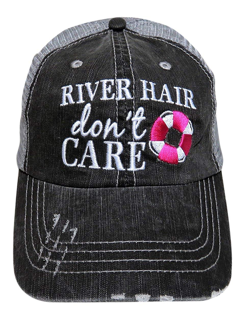 """Embroidered """"River Hair Don't Care"""" Grey Trucker Cap Fashion"""