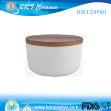 popular ceramic cereal container with wood lid
