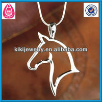 silver horse head pendant with snake chain necklace