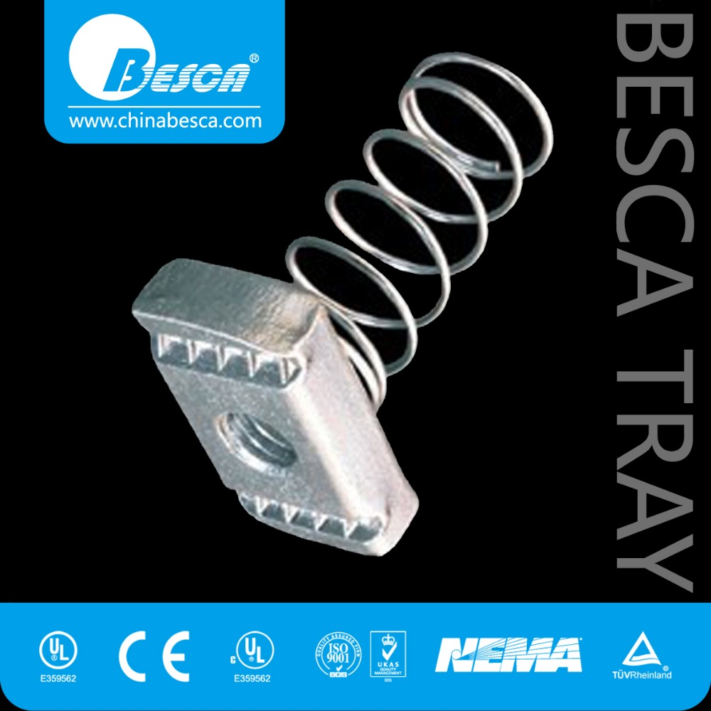 Cable tray channel nut with spring, channel fasteners