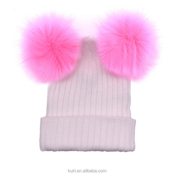 c29ca9ce8a5 2018 Winter Hot Pom Pom Hat lady Winter Cap Kids Knitted Beanie woman Double  Ball Faux
