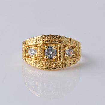 Retro 18k Gold Carved Flower Ring Created Diamond Antique Vintage