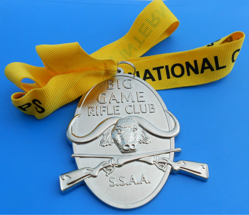 Cheap Silver Plated Round Metal Sports Medal With Champagne Color Ribbon