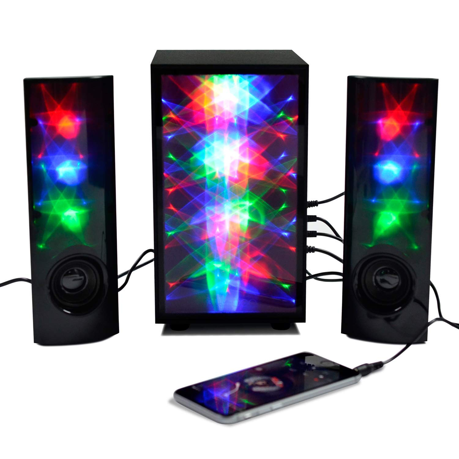 Get Quotations 3D Colorful LED Stereo Speakers Light Show Bookshelf Speaker With 4 Inch Woofer Subwoof Audio
